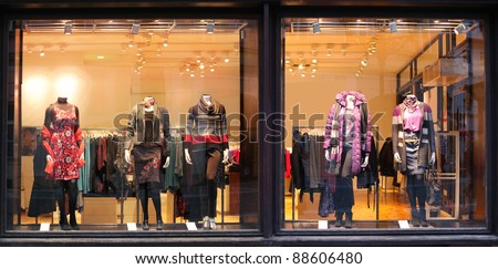 Boutique window with dressed mannequins