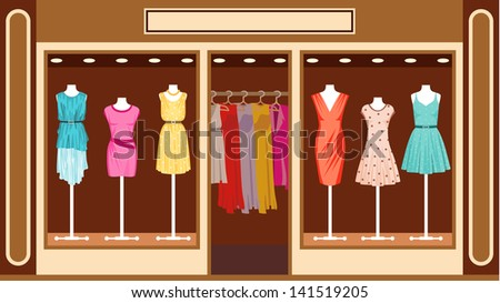 Boutique. Women's clothing shop.Raster illustration.