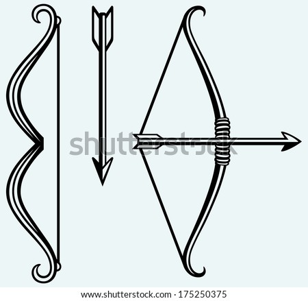 Bow and arrow. Image isolated on blue background. Raster version - stock photo