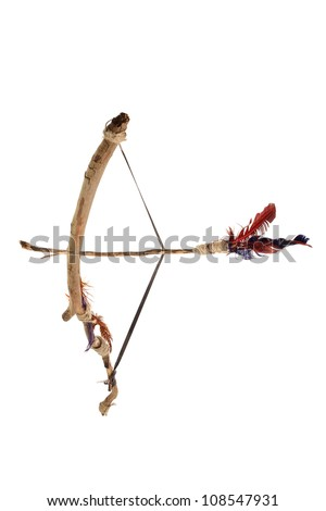 Bow and Arrow on White Background - stock photo