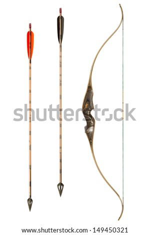 bow and arrows classic isolated on white - stock photo