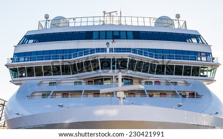 Bow and Bridge of a Massive Luxury Cruise Ship - stock photo