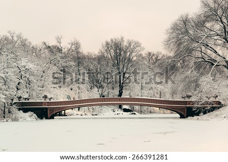 Bow Bridge in Central Park winter in midtown Manhattan New York City
