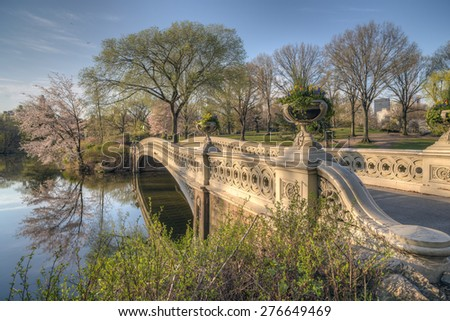 Bow bridge in spring Central Park, New York City - stock photo