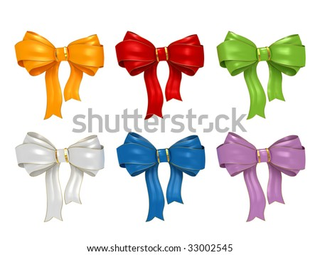 Bow collection isolated on white background
