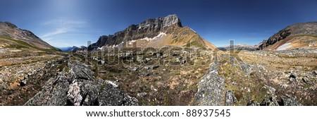Bow Crow Mountain, Banff National Park, Alberta, Canada 360 degree view. - stock photo