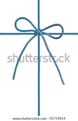 Bow from a blue cord on white - stock photo