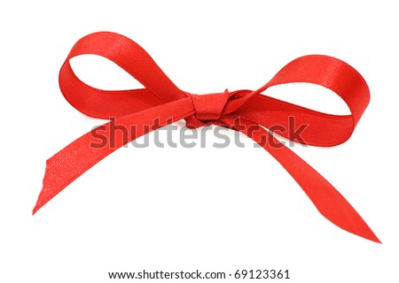 Bow from a red satiny tape - stock photo
