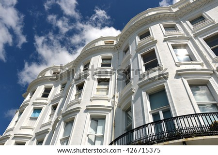 Bow fronted Regency (georgian) houses in Brighton, UK - stock photo