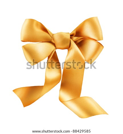 Bow. Golden satin gift bow. Ribbon. Isolated on white - stock photo