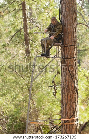 Bow hunter demonstrating good safety technique using a haul line to bring up his bow into a ladder style tree stand  - stock photo