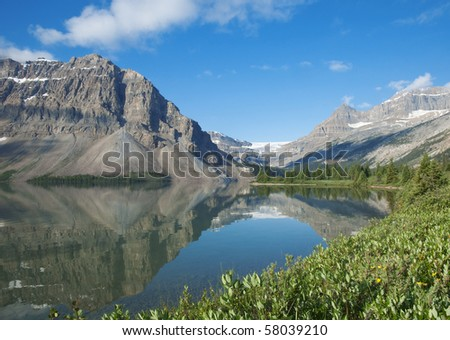 Bow Lake and a glacier in Banff National Park. - stock photo