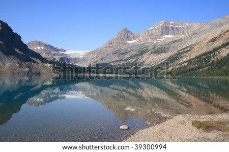 Bow Lake and Bow Glacier in Banff National Park, Alberta, Canada. - stock photo