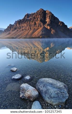 Bow Lake, Banff National Park in Alberta - stock photo