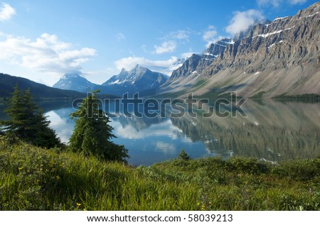 Bow Lake in Banff National Park - stock photo
