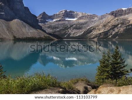 Bow Lake in Banff National Park Canada - stock photo