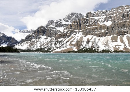 Bow Lake in Spring, Rocky Mountains (Canada)