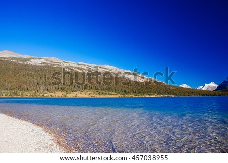 Bow Lake is a small lake in western Alberta, Canada. It is located on the Bow River, in the Canadian Rockies, at an altitude of 1920 m. - stock photo