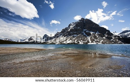 Bow Lake.  Located in Banff National Park, Alberta, Canada. - stock photo