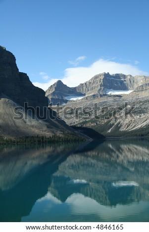 Bow Lake, mountain reflections,Columbia Icefields Parkway,Canadian Rockies,Banff,Jasper,Alberta, Canada - stock photo