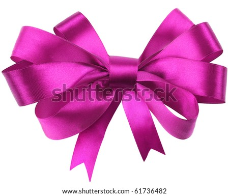 Bow, made of red silk ribbon. Contains line cut - stock photo