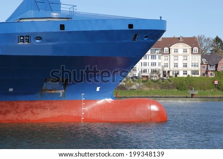 bow of a container ship - stock photo