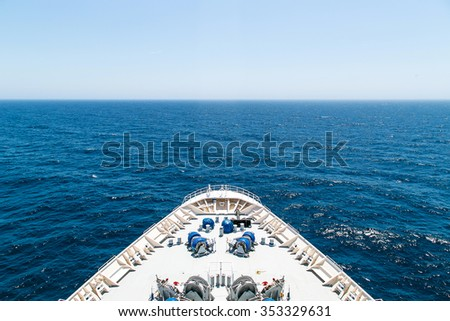 Bow of a cruise ship with the sea in the front - stock photo