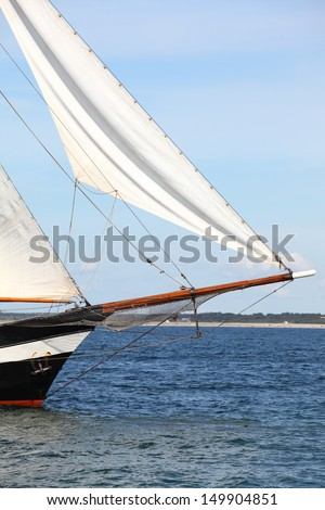 Bow of a sailing ship near the coast/Sailing Ship - stock photo