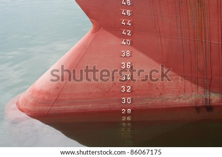 bow of a ship with draft scale numbering - stock photo