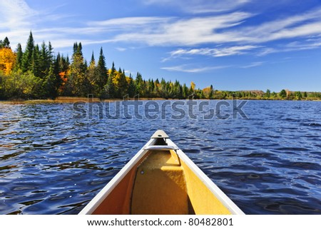 Bow of canoe on Lake of Two Rivers, Ontario, Canada - stock photo