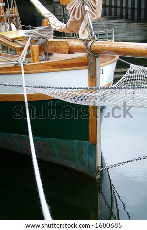 Bow of old, wooden sailing ship
