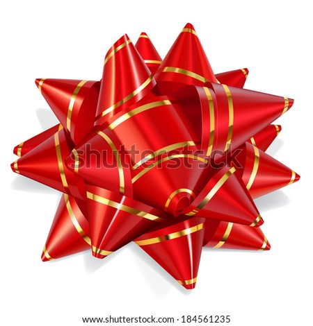 Bow of red ribbon with gold stripes with shadow on white background. Raster version.