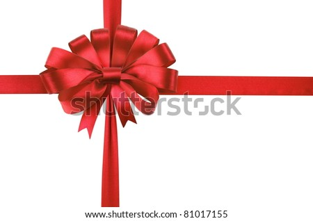 Bow of red satin ribbon isolated on a white background. - stock photo