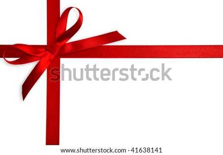Bow of red satin ribbon. Isolated on white background - stock photo