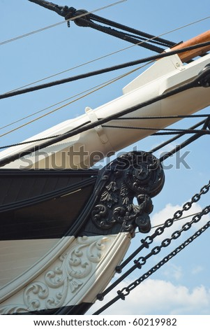 Bow of the Historic Sailing Ship USS Constellation - stock photo