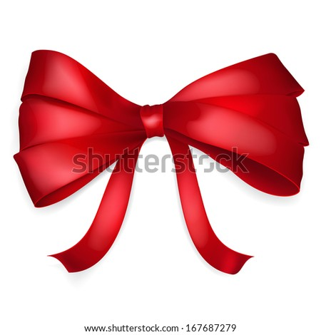 Bow of thin red ribbon with shadow. Raster version.