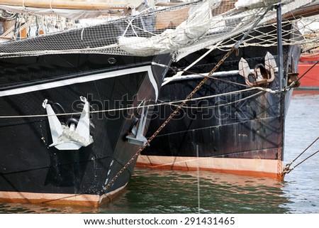 Bow of traditional sailing ships in Kiel, Germany - stock photo