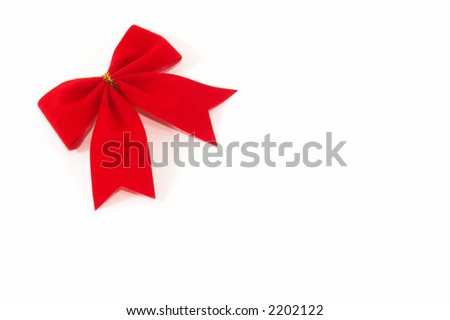 Bow on a white background, simple gift wrapping top view, horizontal orientation - stock photo