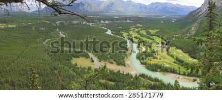 Bow river valley and Rocky Mountains (Banff National Park. Alberta. Canada). View from above - stock photo