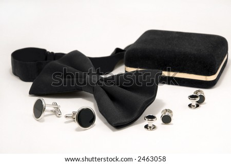 Bow tie and onyx cufflinks. - stock photo