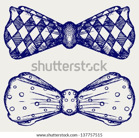 Bow-tie. Doodle style. Raster version - stock photo
