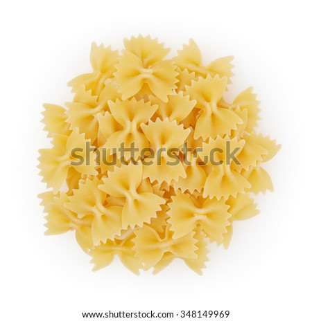 Bow tie pasta isolated on white bacground with clipping path - stock photo