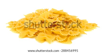 bow tie pasta on white background  - stock photo