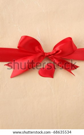 bow with heart - stock photo