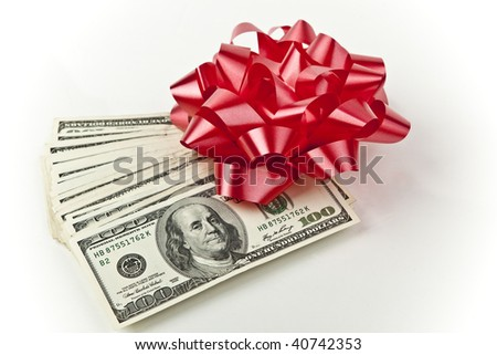 bow with holiday cash