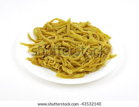 Bowl fancy green beans - stock photo