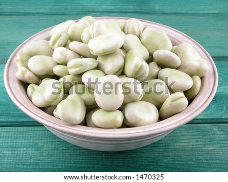 bowl full of broad beans close-ups - stock photo