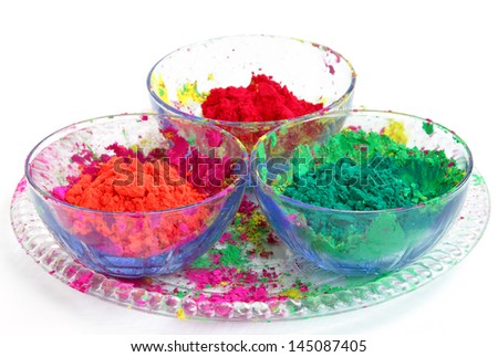 Bowl full of colorful Gulal - stock photo