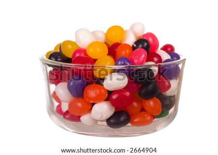 Bowl full of Jelly Beans isolated over white - stock photo