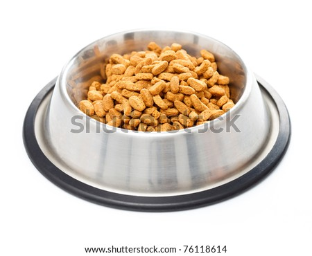Bowl full of pet food for cats isolated on white background - stock photo